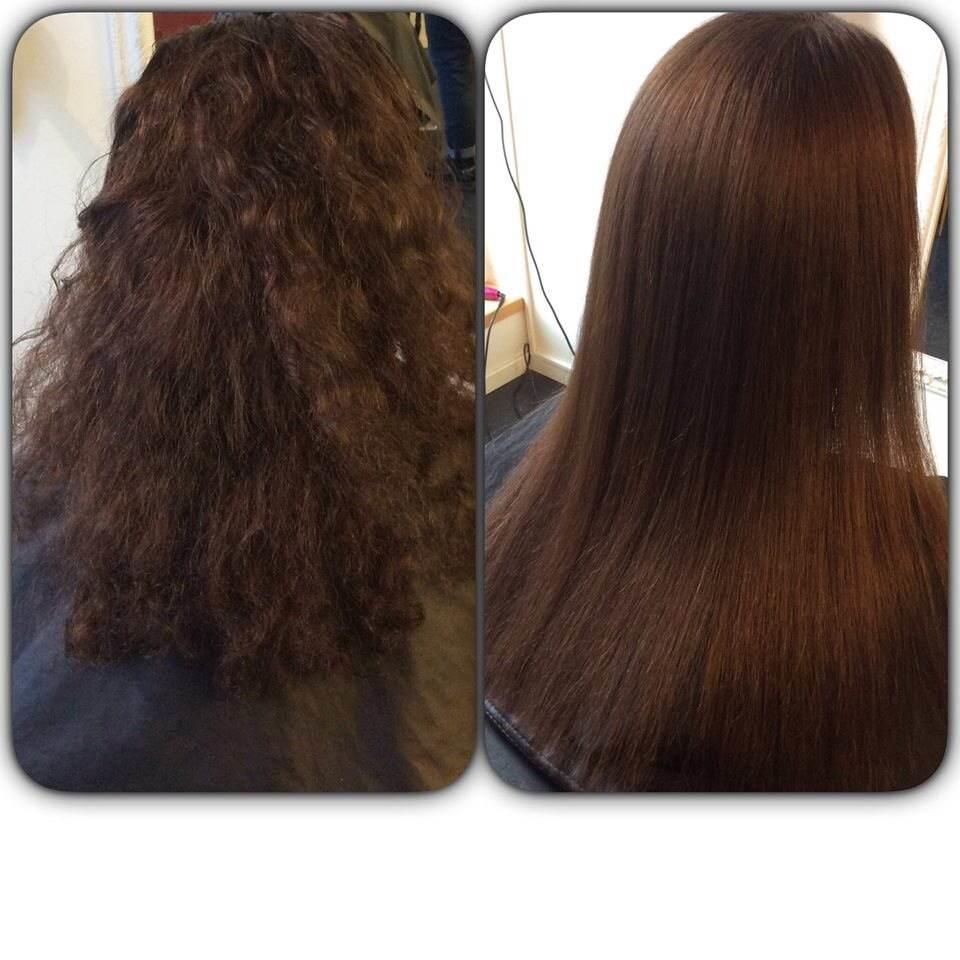 keratinbehandling lockigt hår